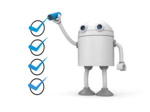 Robot huker av med blå penn i bokser