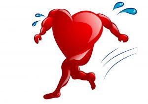 Tegning av hjerte med ben som løper og svetter