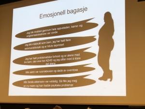 Illustrasjon med punkter om ulik emosjonell bagasje