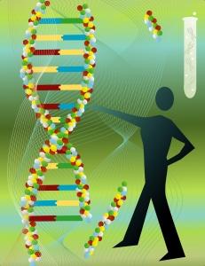 Tegning av mann ved DNA molekyler
