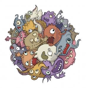 Tegning av fantasibakterier klynget sammen i en ball